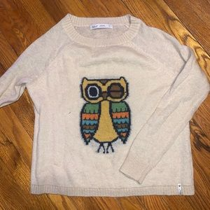 Scoop neck sweater with winking owl
